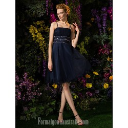 Australia Formal Dresses Cocktail Dress Party Dress Dark Navy Plus Sizes Dresses Petite A-line Spaghetti Straps Short Knee-length Tulle